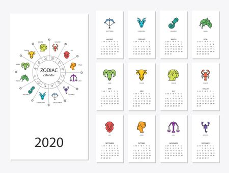 Calendar 2020 with horoscope signs zodiac symbols set Illustration