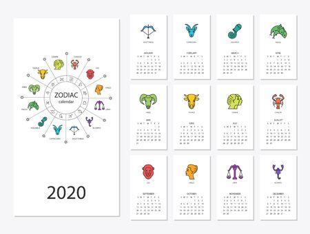 Calendar 2020 with horoscope signs zodiac symbols set Illustration