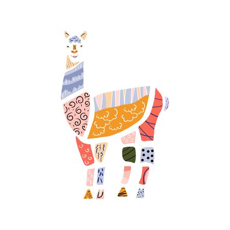 Set with paper cut pieces funny llama alpaca