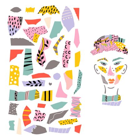 Different shapes and hand drawn textures paper cut