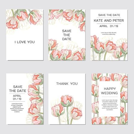 Elegant floral invite set modern card in tulips Çizim