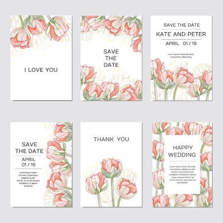 Elegant floral invite set modern card in tulips Illustration