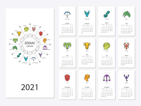 Calendar 2021 with horoscope signs zodiac symbols set Illustration