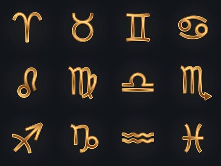 Set of gold zodiac signs icons. Horoscope elements. Astrologycal symbols.