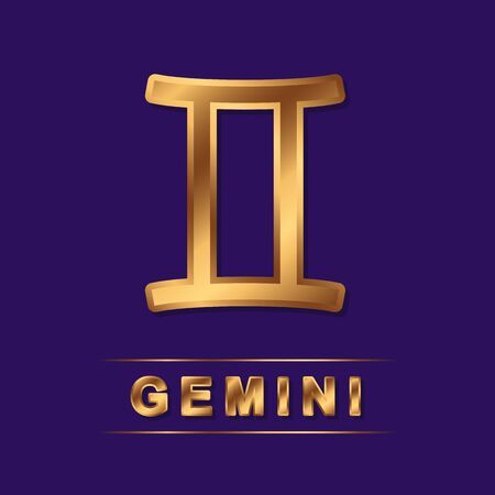 Gemini zodiac golden vector sing with gold letters on the dark purple background. Vector horoscope symbol for design Ilustrace