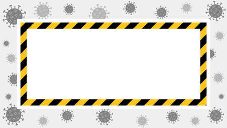 Vector quarantine frame. Coronavirus background with black and yellow stripes. White place for text in the frame. Covid-19 outbreake. Stay at home attent banner.