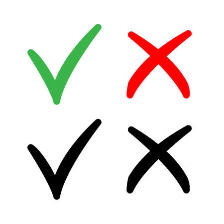 Check mark vector isolated elements. Tick and cross symbols