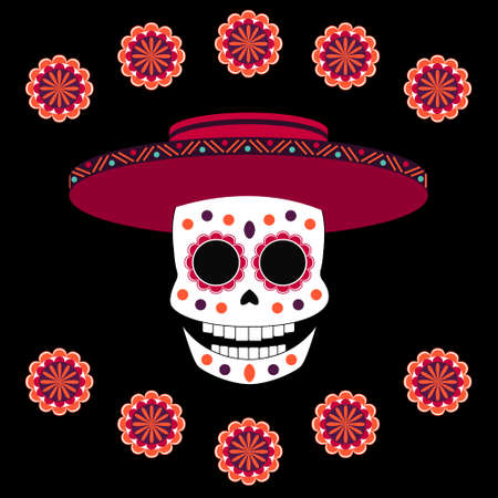Vector colorful flat skull with bright flowers around in cartoon style on the black background. Elements for dia de muertos and halloween banners, designs and games.