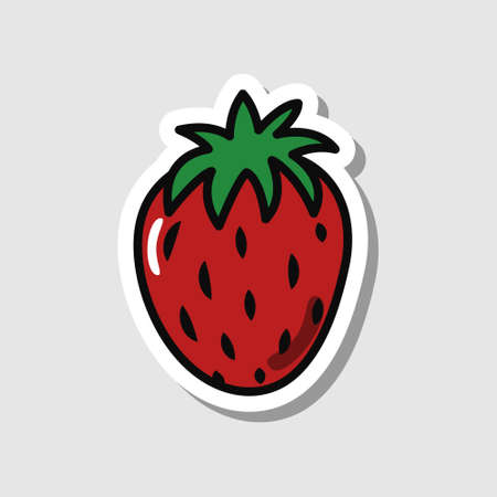 Vector strawberry sticker in cartoon style. Isolated berry with shadow. Banque d'images - 150887086