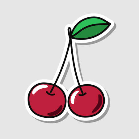 Vector cherry sticker in cartoon style. Isolated berry with shadow. Illustration