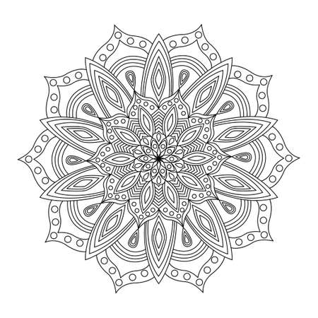 Round pattern with lines and circles. Mandala. Adult coloring picture. Meditative pattern. Vetores