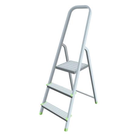 Vector isolated foldable stepladder on white background. Illustration