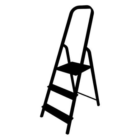 Vector isolated foldable stepladder silhouette on white background.
