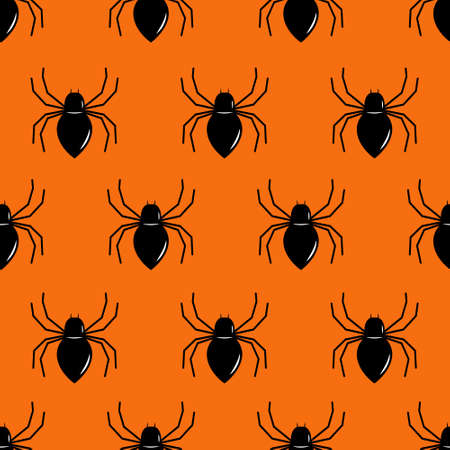 Black spider seamless pattern. Repeated flat vector icons for Halloween. Stock Illustratie