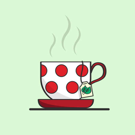 Isolated vector cup of tea on the light green background. White cup with red dots. Cup with with hot liquid inside and a tea bag lable. Cartoon icon for illustration Çizim