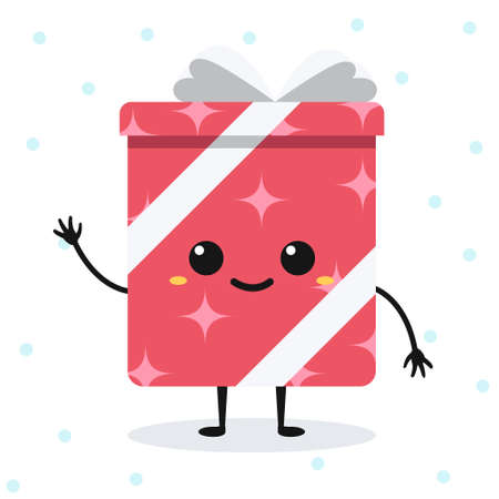 Vector cartoon happy gift box with cute face. Isolated emotional flat character on white background with snowflakes. Illusztráció