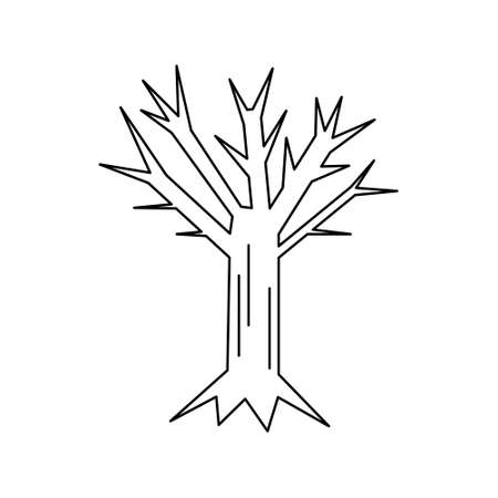Vector line art withered tree. Isolated Halloween element for coloring. Black contour of mystery plant on the white background. Coloring cartoon illustration.