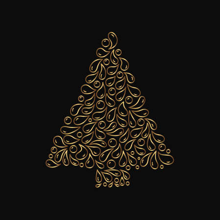 Gold decorative christmas tree. Vector spruce with doodle line art elements. Isolated hand drawn fir on the black background.