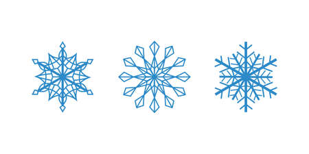 Vector blue snowflakes on the whitebackground. Isolated outline flakes set. Line art collection for winter decor