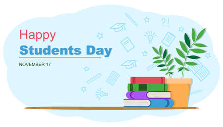 Happy Students Day banner. Stack of books and a potted plant isolated vector illustration. Academic and school knowledge symbols. Set of flat books variations with shadow. 向量圖像