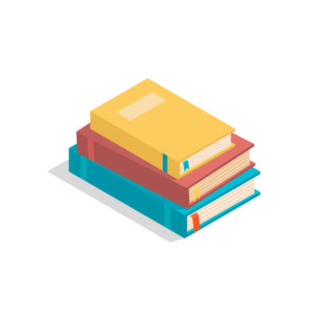 Vector isometric books on the white background with shadow. Stack of realistic studybooks for design, infographic, poster, banner, game