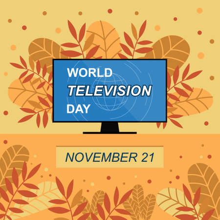 World television day banner. Vector autumn illustration with colorful leaves and television in the center. November 21