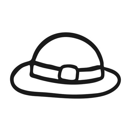 Vector hat icon in hand drawn style. Outline isolated symbol. Illustration on white background. Design for print and coloring books. Cartoon clothes pictogram for game. Doodle leprechaunt hat