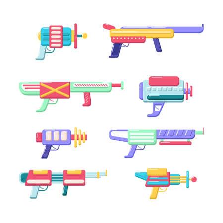 Vector blasters collection. Colorful toy gun set. Futuristic weapon design. Space game gun icons on white background. Vektorgrafik