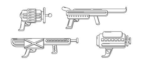 Vector line art blasters collection. Toy gun set coloring page. Futuristic weapon design. Space game gun outline icons on white background.