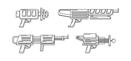 Vector line art blasters collection. Toy gun set coloring page. Futuristic weapon design. Space game gun outline icons on white background. Vektorgrafik