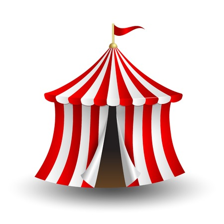 fete: illustration of open circus tent with flag