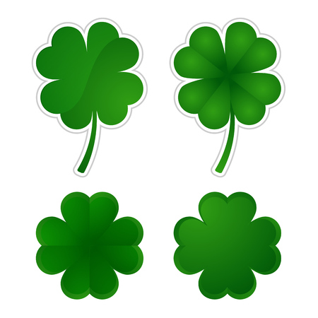 four leafed: Vector illustration  Collection of four-leaf clovers.   Illustration