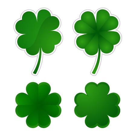 four leafed clover: Vector illustration  Collection of four-leaf clovers.   Illustration