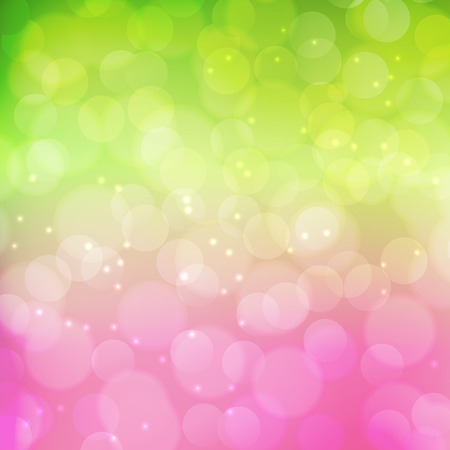 Spring bokeh background.  Green and pink colors. Vector illustration Ilustração
