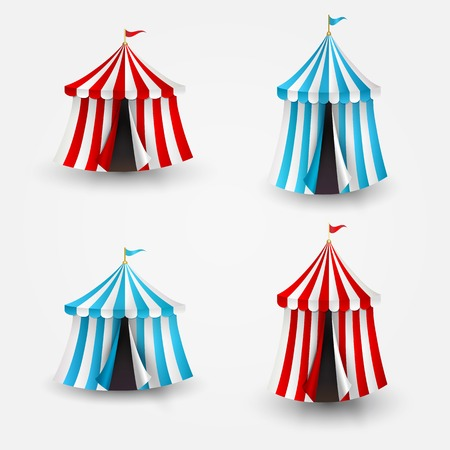 cupola: Vector illustration of open circus tent with flag Illustration