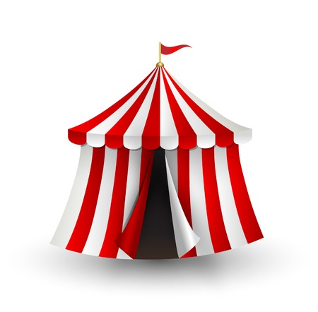 Vector illustration of open circus tent with flag Vectores