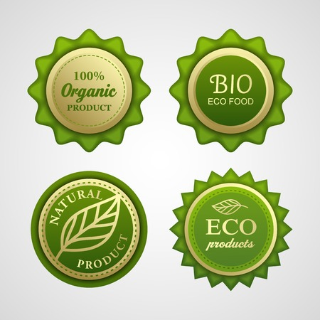 Collection of vintage retro grunge bio and eco organic labels natural products Illustration