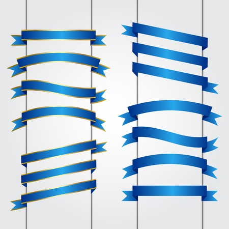 Set of blue ribbon banners, Vector graphic
