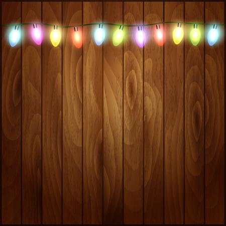 Christmas background with Christmas lights  wood texture. Vector illustration Ilustração