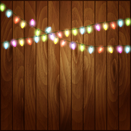 harsh: Christmas background with Christmas lights  wood texture. Vector illustration Illustration