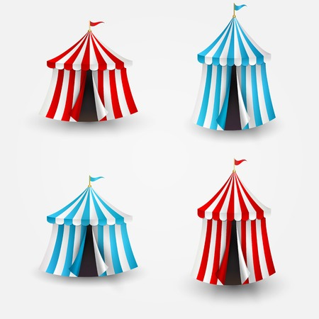 cirque: Vector illustration of open circus tent with flag Illustration
