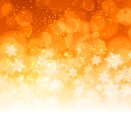 orange texture: Christmas snowflakes background with bokeh. Vector illustration