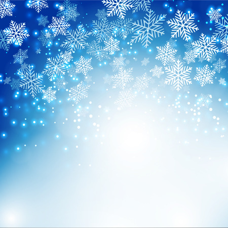 snow: Christmas snowflakes background with bokeh. Vector illustration