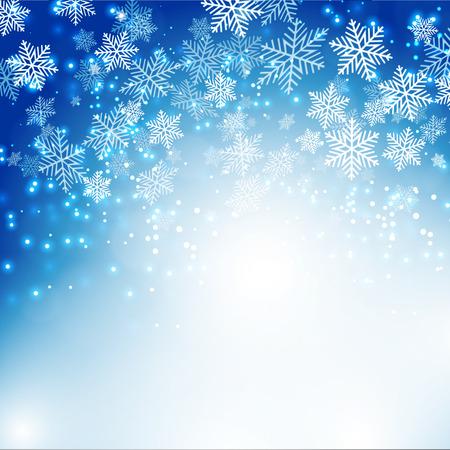 schneeflocke: Weihnachten Schneeflocken Hintergrund mit Bokeh. Vektor-Illustration