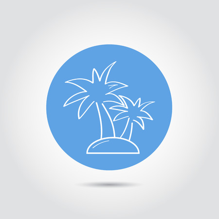 tree outline: Summer and travel icon - palm tree. Travel design. Logo. Vector Illustration