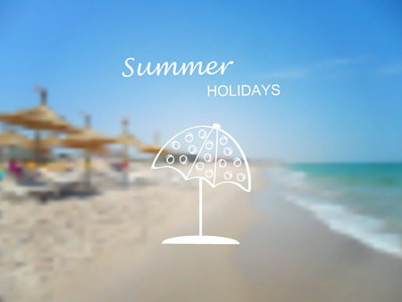 logo voyage: Vecteur floue fond - mer et la plage avec l'été et l'icône de Voyage - parasol. Design.Tunisia Voyage. Logo. Vector illustration.