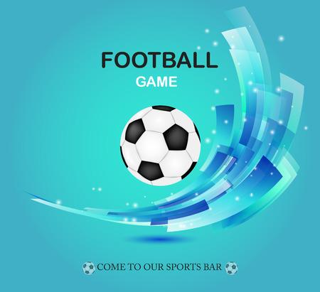 緑の背景にクリエイティブなサッカー ベクター デザイン。デザイン要素とサッカー ボール。