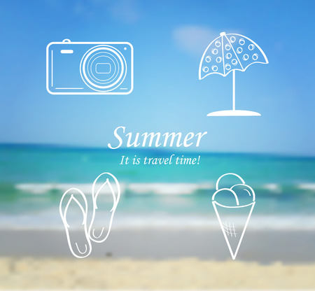 sunshade: Summer and travel set of icons - flip flops, sunshade, ice cream, camera. Abstract blurred sea background. Vector illustration. Illustration