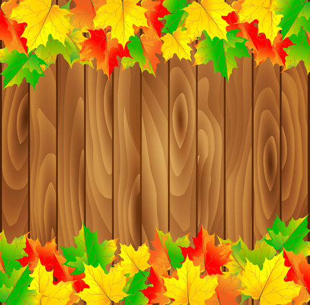 Natural background with wooden board and autumn leaves. Vector illustration. Vector Illustration