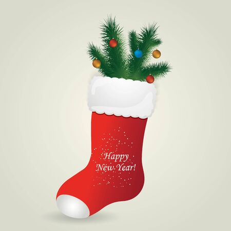 boots: Red Santas boot with christmas pine and balls. Christmas greeting card with boot. Vector illustration